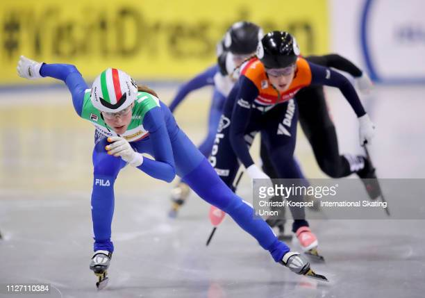 Martina Valcepina of Italy skates in front during the ladies 500 meter final A during the ISU Short Track World Cup Day 2 at EnergieVerbund Arena on...