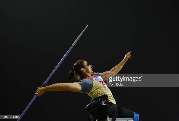 Martina Willing of Germany competes in Javelin Wheelchair Women final during the 9th Fazza International IPC Athletics Grand Prix Competition World...