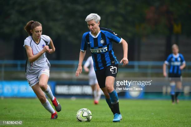 Martina Zanoli of Orobiche Women competes for the ball with Stefania Tarenzi of FC Internazionale Women during the Women Serie A match between FC...