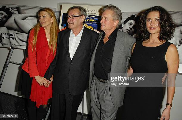 Martina Zborilova film director Milos Forman actor Michael Douglas and actress Catherine ZetaJones attend the Milos Forman A Retrospective at the...