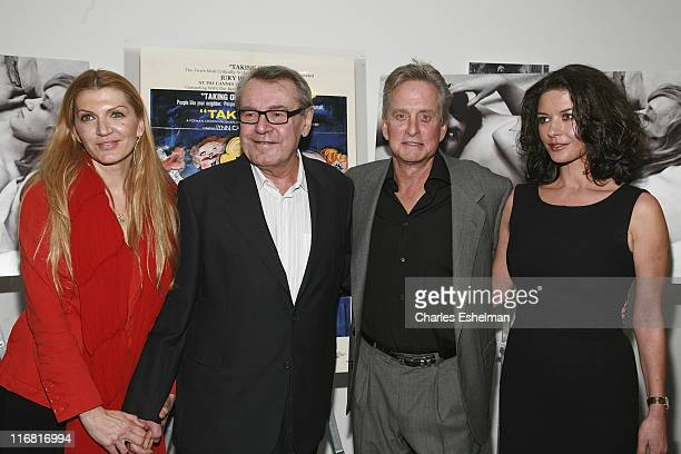 Martina Zborilova writer/director Milos Forman actor/producer Michael Douglas and actress Catherine ZetaJones attend One Flew Over the Cuckoo's Nest...