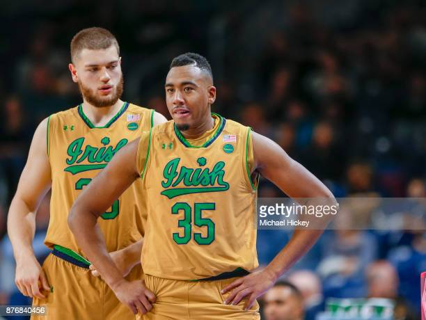 Martinas Geben and Bonzie Colson of the Notre Dame Fighting Irish are seen during the game against the Chicago State Cougars at Purcell Pavilion on...