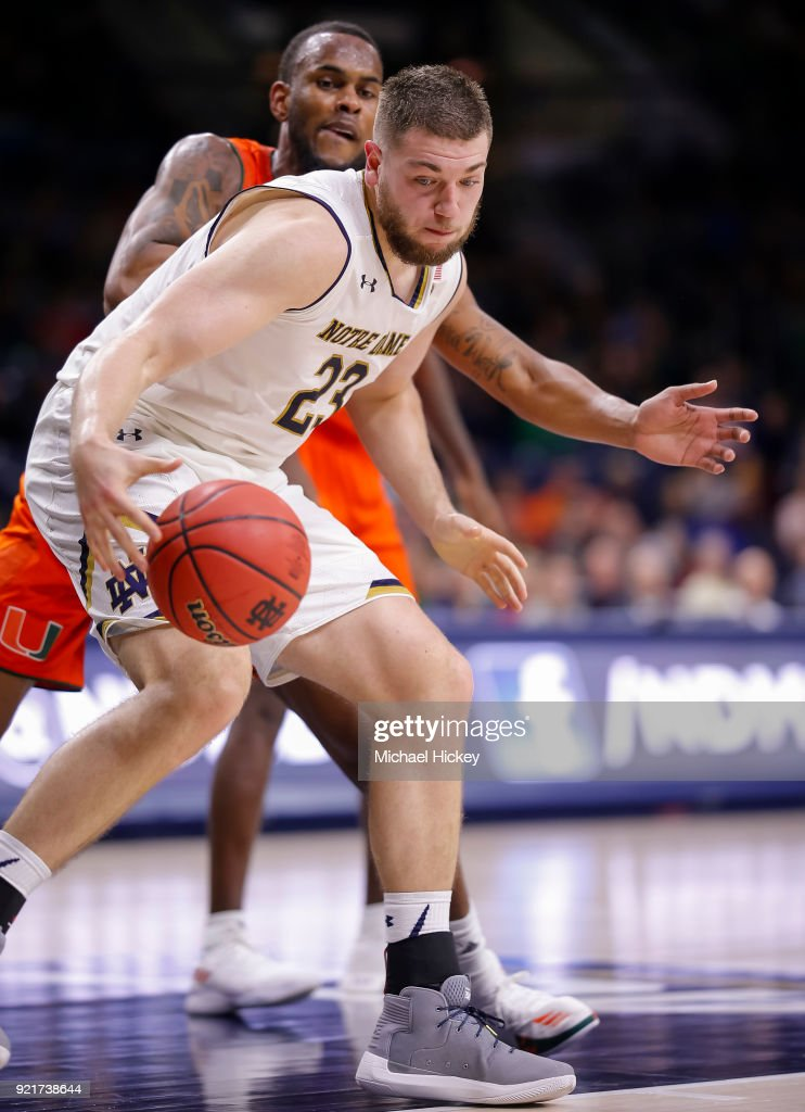 Martinas Geben #23 of the Notre Dame Fighting Irish dribbles the ball against the Miami (Fl) Hurricanes at Purcell Pavilion on February 19, 2018 in South Bend, Indiana.