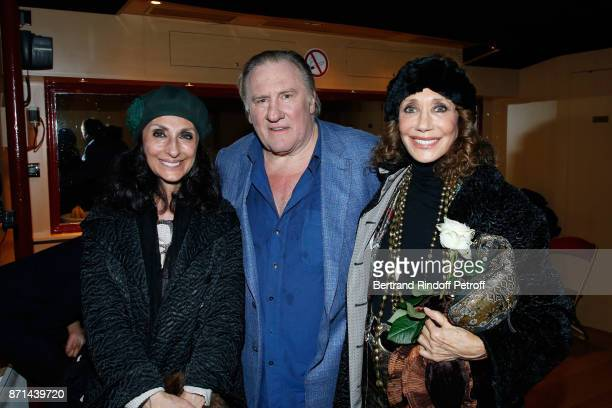 Martine Amsili Gerard Depardieu and Marisa Berenson pose after 'Depardieu Chante Barbara' at Le Cirque d'Hiver on November 6 2017 in Paris France