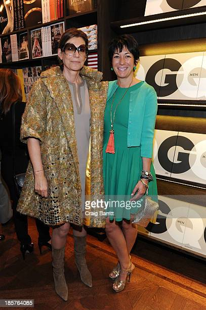 Martine Assouline and Ghislaine Maxwell attend Martine and Prosper Assouline host Jim Nelson and Chris Mitchell to celebrate the launch of GQ Men on...