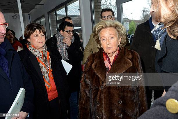 Martine Aubry and Bernadette Chirac attend the 25th Anniversary of Pieces Jaunes Bernadette Chirac's Press Conference At CHRU Jeanne De Flandres on...
