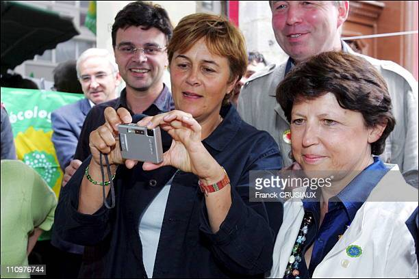 Martine Aubry and Dominique Voynet on stand the ' Verts ' in Lille France on September 02nd 2006