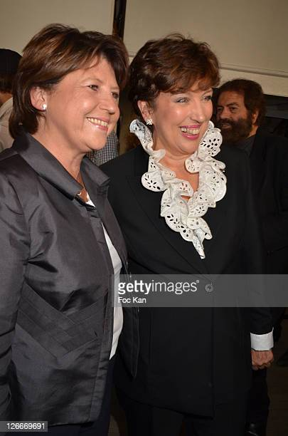 Martine Aubry and Roselyne Bachelot attend the Clara and Marek Halter Celebrate The New Jewish Year 5772 'Under The Sign of Peace' in Their...
