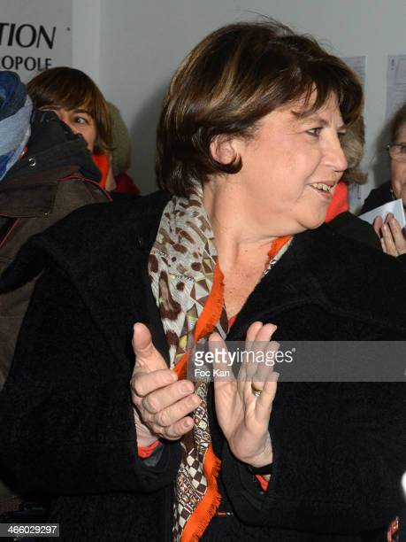 Martine Aubry attends the 25th Anniversary of Pieces Jaunes Bernadette Chirac's Press Conference At CHRU Jeanne De Flandres on January 30 2014 in...