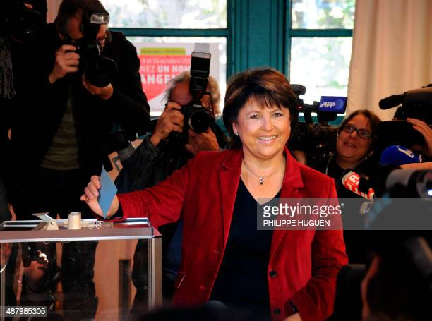 Martine Aubry candidate for the Socialist party's 2011 primary vote for France's 2012 presidential election is about to cast her ballot for the...