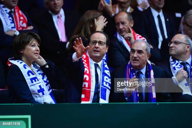 Martine AUBRY / Francois HOLLANDE / Jean GACHASSIN France / Suisse Finale de la Coupe Davis 2014 Photo Dave Winter / Icon Sport