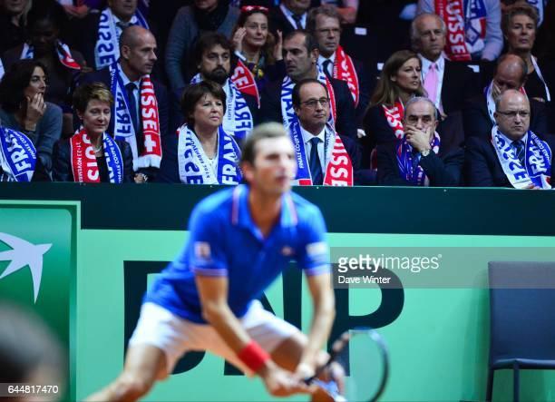 Martine AUBRY / Francois HOLLANDE / Jean GACHASSIN / Julien BENNETEAU France / Suisse Finale de la Coupe Davis 2014 Photo Dave Winter / Icon Sport