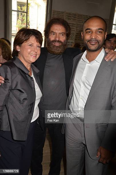 Martine Aubry, Marek Halter and Dominique Sopo from SOS Racism attend the Clara and Marek Halter Celebrate The New Jewish Year 5772 - 'Under The Sign...