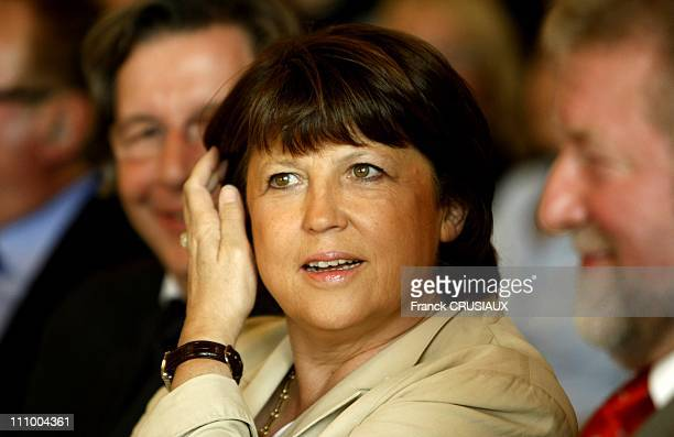 Martine Aubry Mayor of Lille presents her contribution to the congress of the Socialist Party activists from Reims Nord Pas de Calais in Lievin...