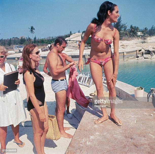 Martine Beswick Sean Connery and Claudine Auger on set of latest James Bond film Thunderball