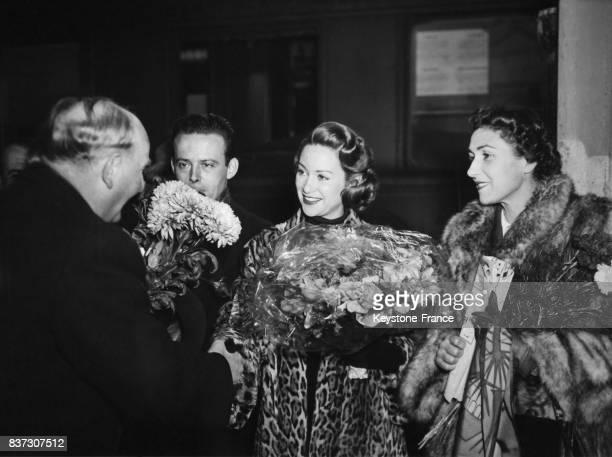 Martine Carol arrivant à Munich Allemagne le 27 décembre 1951 pour la première du film 'Caroline chérie' réalisé par Richard Pottier