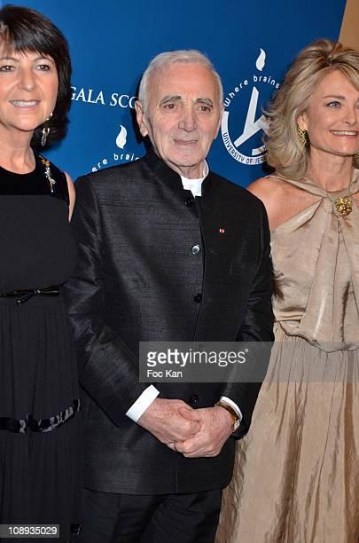 Martine Dassault Scopus awarded actor/singer Charles Aznavour and Florence de Botton attend the 'Scopus 2011 Awards' Tribute to Charles Aznavour' at...