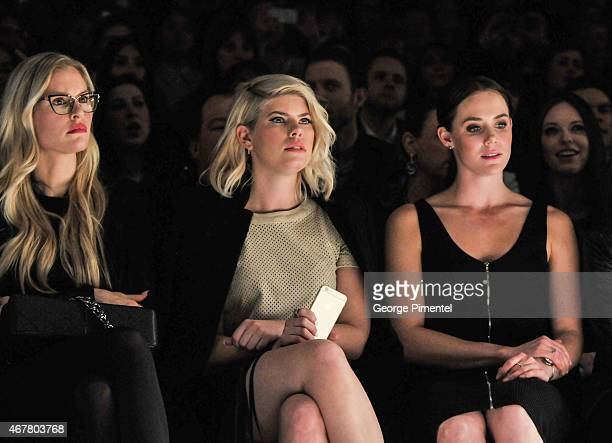 Martine Forget LeeAnn Cuthbert and Tessa Virtue attend World MasterCard Fashion Week Fall 2015 Collections Day 4 at David Pecaut Square on March 26...