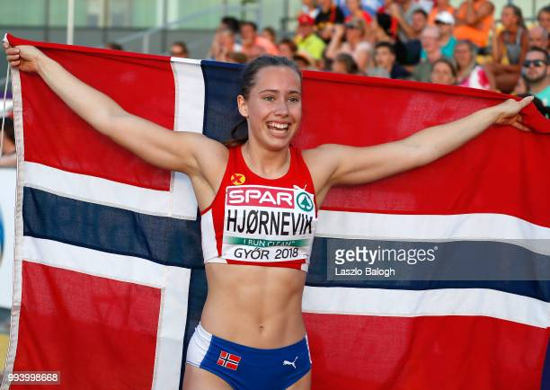 Martine Hjornevik of Norway celebrates her victory at the 100m Hurdles during European Athletics U18 European Championship July 8 2018 in Gyor Hungary