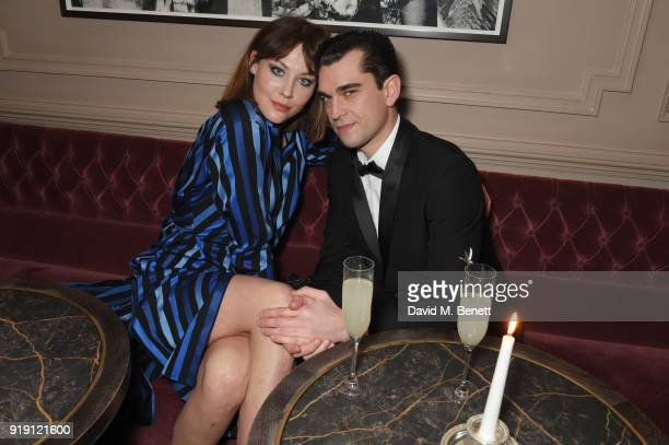Martine Lervik and James D Kelly attend Grey Goose Vodka and GQ Style's dinner in celebration of film and fashion at Kettner's on February 16 2018 in...