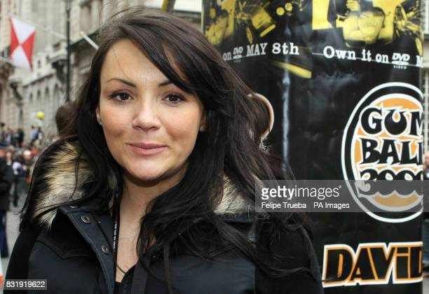 Martine McCutcheon at the start line of the car rally Gumball 3000 at Pall Mall in London