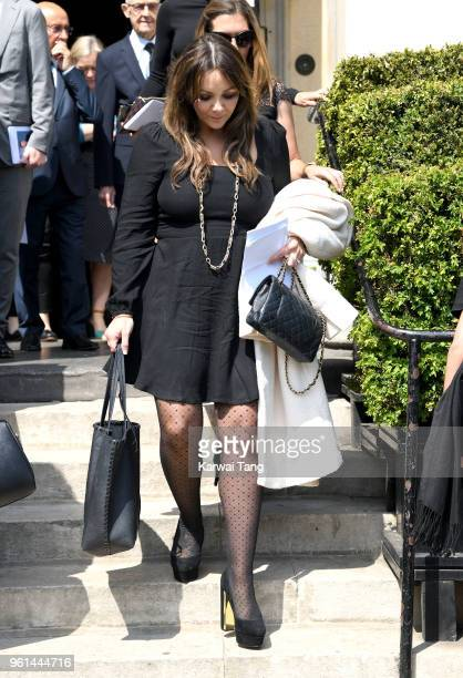 Martine McCutcheon departs after attending the funeral of Dale Winton at the Old Church, 1 Marylebone Road on May 22, 2018 in London, England.