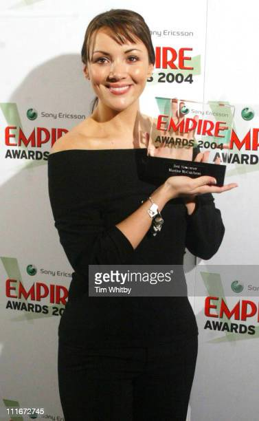 Martine McCutcheon winner of Best Newcomer Award during 2004 Sony Ericsson Empire Film Awards Press Room at The Dorchester Hotel in London Great...