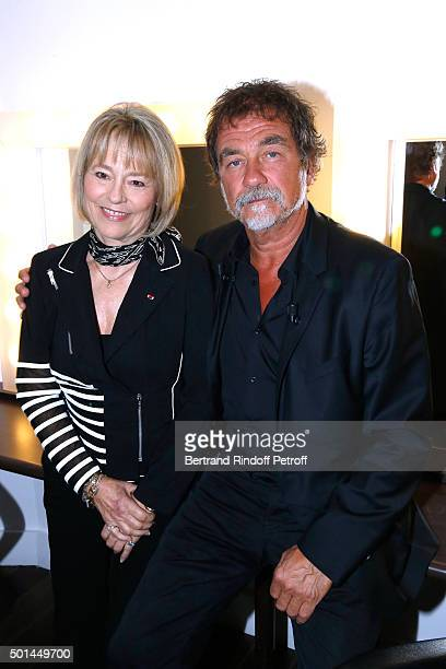 Martine Monteil who presents her book 'Flic tout simplement' and Main Guest of the Show actor Olivier Marchal attend the 'Vivement Dimanche' French...