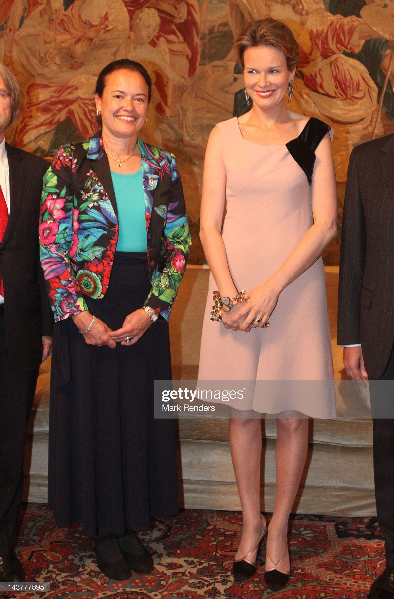 Вечерние наряды Королевы Матильды Princess Mathilde Of Belgium Attends Breast International Gala Dinner : News Photo