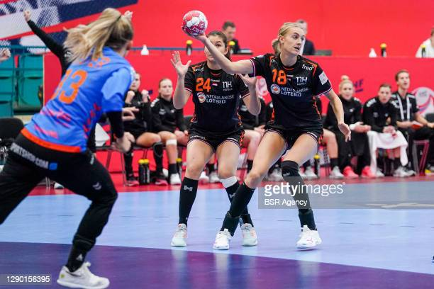 Martine Smeets of Netherlands, Kelly Dulfer of Netherlands during the Women's EHF Euro 2020 match between Netherlands and Hungary at Sydbank Arena on...