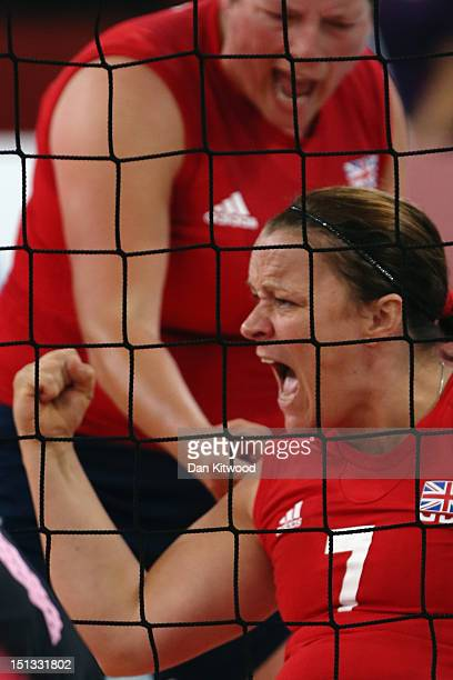 Martine Wright of Great Britain celebrates a point during the Women's Sitting Volleyball 78 Clasification match against Japan on day 8 of the London...