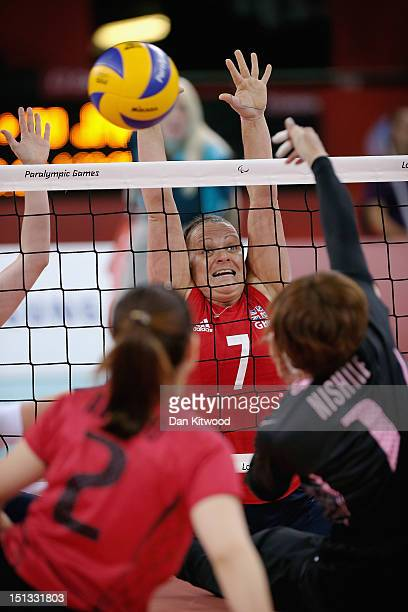 Martine Wright of Great Britain reaches up to block a shot during the Women's Sitting Volleyball 78 Clasification match against Japan on day 8 of the...