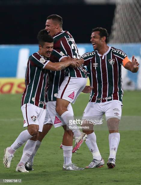 Martinelli of Fluminense celebrates with his teammates after scoring a goal during a match between Fluminense and Goias as part of 2020 Brasileirao...