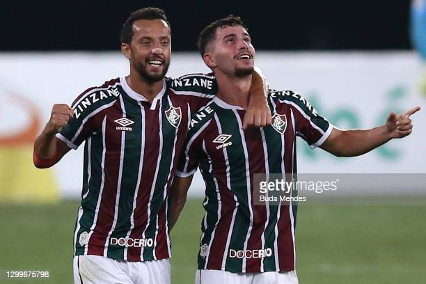 Martinelli of Fluminense celebrates with Nene after scoring a goal during a match between Fluminense and Goias as part of 2020 Brasileirao Series A...