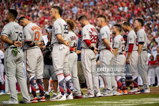 D Martinez and Mookie Betts of the Boston Red Sox are introduced before the 89th MLB AllStar Game at Nationals Park Tuesday July 17 2018 in...