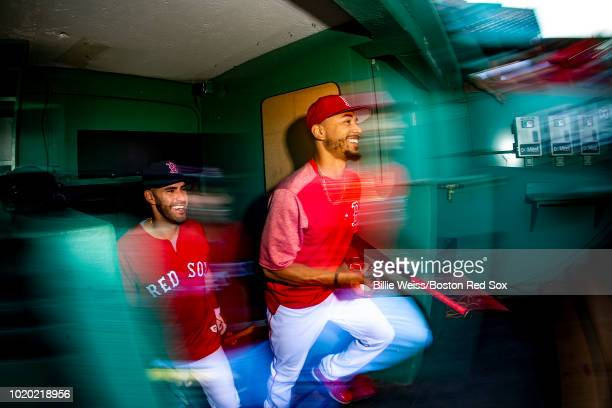 Francisco Lindor of the Cleveland Indians high fives Brandon Guyer after a win over the Boston Red Sox at Fenway Park on August 20 2018 in Boston...