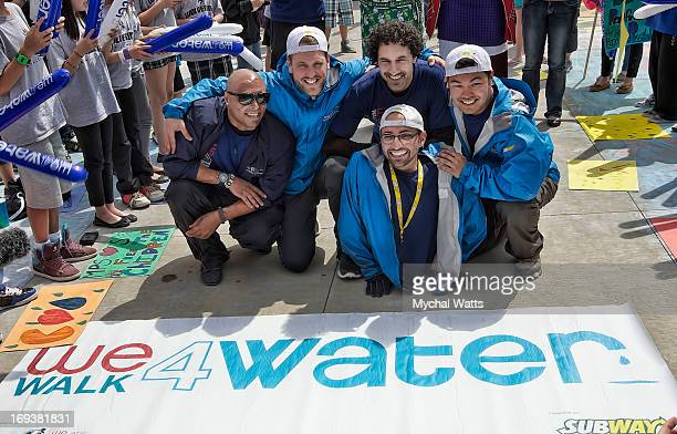 Martinez David Johnson Ethan Zohn Alex Meers and Spencer West take part in We Walk 4 Water to benefit Free The Children's water initiative on May 15...