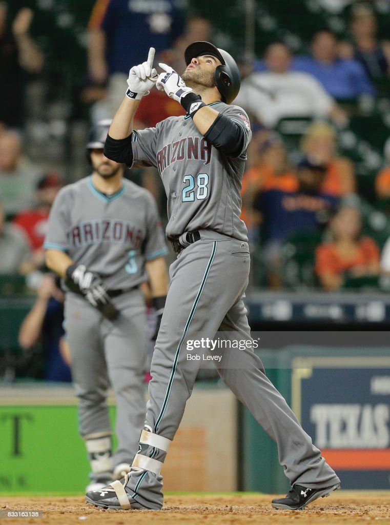 J.D. Martinez #28 of the Arizona Diamondbacks celebrates a eighth inning home run against the Houston Astros at Minute Maid Park on August 16, 2017 in Houston, Texas.