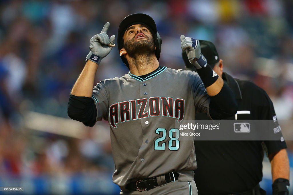 J.D. Martinez #28 of the Arizona Diamondbacks celebrates after hitting a 3-run home run in the first inning against the New York Mets at Citi Field on August 22, 2017 in the Flushing neighborhood of the Queens borough of New York City.