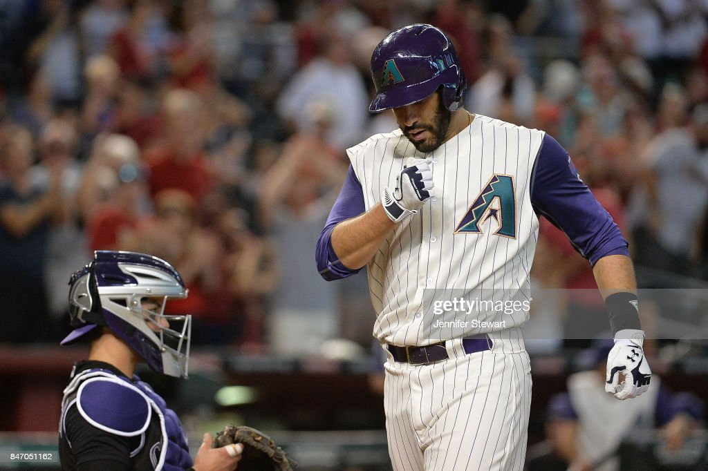 J.D. Martinez #28 of the Arizona Diamondbacks celebrates hitting a solo home run in the third inning of the MLB game against the Colorado Rockies against at Chase Field on September 14, 2017 in Phoenix, Arizona.