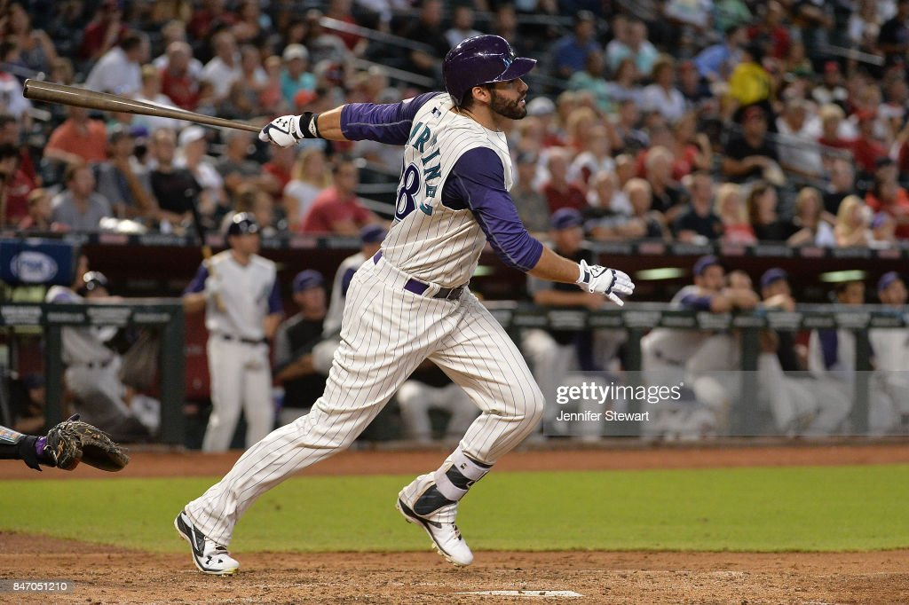 J.D. Martinez #28 of the Arizona Diamondbacks hits a solo home run in the third inning of the MLB game against the Colorado Rockies at Chase Field on September 14, 2017 in Phoenix, Arizona.