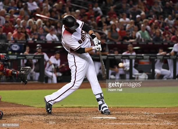 Martinez of the Arizona Diamondbacks hits a three run home run off of Matt Wisler of the Atlanta Braves during the sixth inning at Chase Field on...