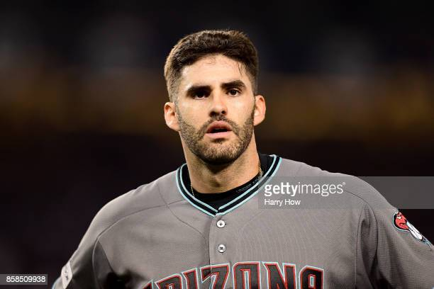 D Martinez of the Arizona Diamondbacks reacts at the end of the eighth inning against the Los Angeles Dodgers in game one of the National League...
