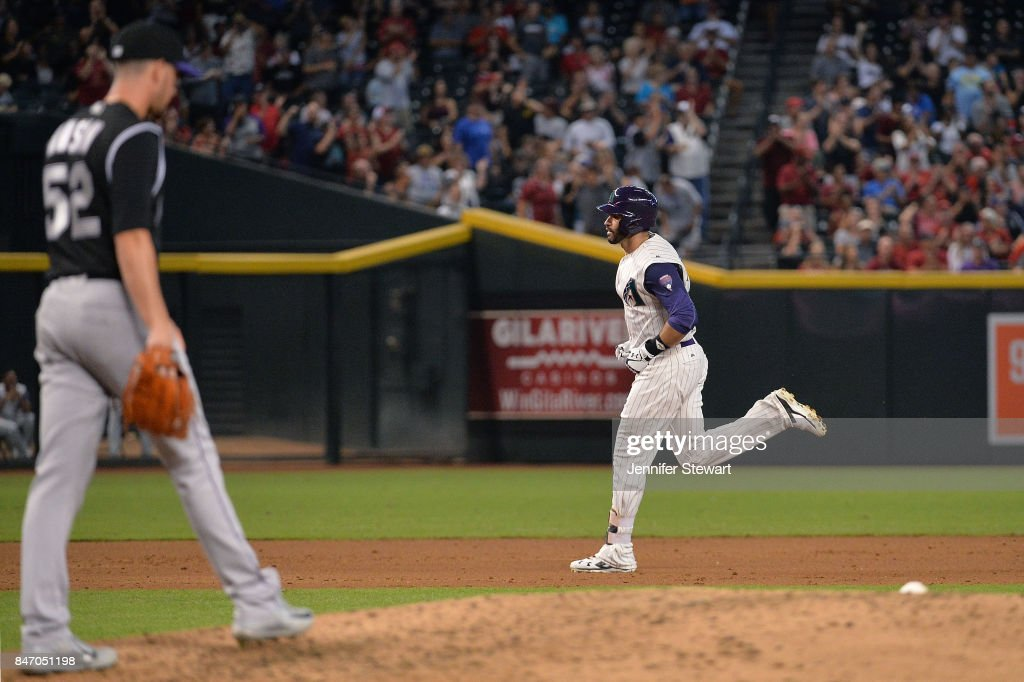 J.D. Martinez #28 of the Arizona Diamondbacks runs the bases after hitting a solo home run off Chris Rusin #52 of the Colorado Rockies in the third inning of the MLB game against at Chase Field on September 14, 2017 in Phoenix, Arizona.