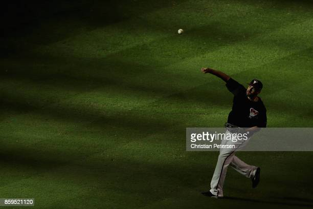 D Martinez of the Arizona Diamondbacks warms up before the National League Divisional Series game three against the Los Angeles Dodgers at Chase...