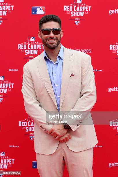 D Martinez of the Boston Red Sox and the American League attends the 89th MLB AllStar Game presented by MasterCard red carpet at Nationals Park on...