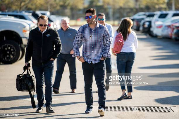 D Martinez of the Boston Red Sox arrives with agent Scott Boras before a press conference announcing his signing on February 26 2018 at jetBlue Park...