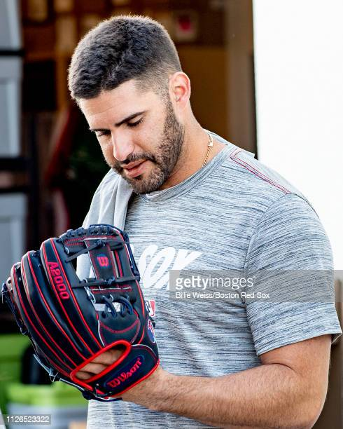 D Martinez of the Boston Red Sox attends Wilson glove day during a team workout on February 21 2019 at JetBlue Park at Fenway South in Fort Myers...