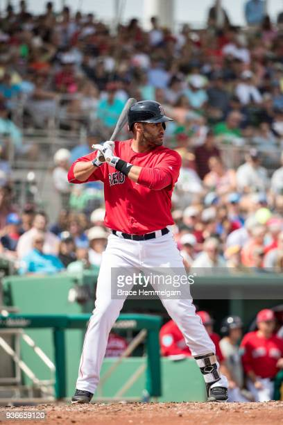 D Martinez of the Boston Red Sox bats during a spring training game against the Minnesota Twins on March 7 2018 at the JetBlue Park in Fort Myers...