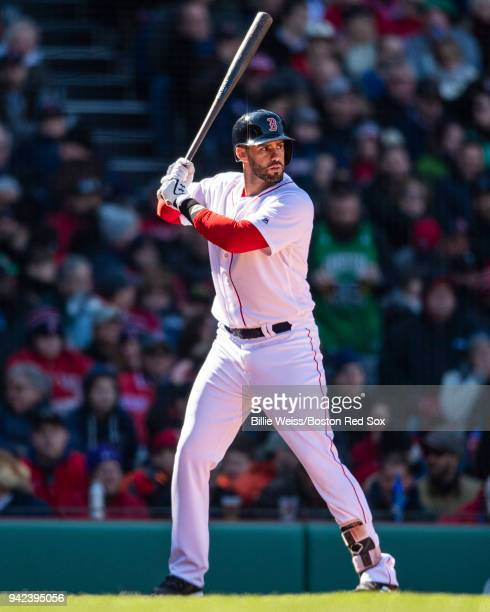 D Martinez of the Boston Red Sox bats during the fifth inning of the Opening Day game against the Tampa Bay Rays on April 5 2018 at Fenway Park in...